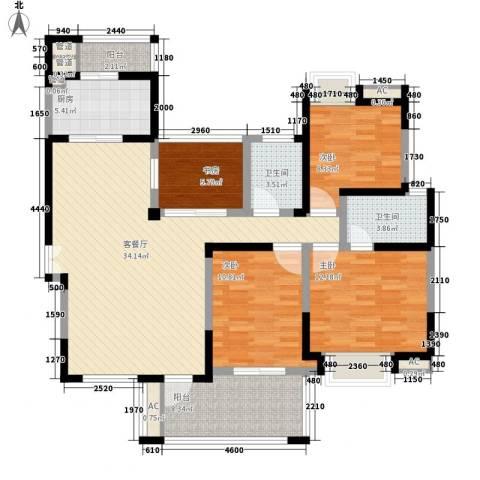 海门东恒盛国际公馆4室1厅2卫1厨143.00㎡户型图