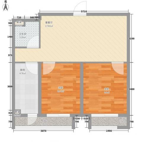 佰世・品德2室1厅1卫1厨64.00㎡户型图