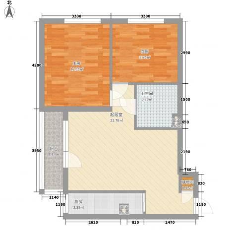 佰世・品德2室0厅1卫1厨77.00㎡户型图
