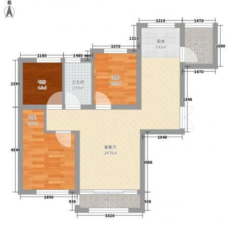 钻石湾地中海阳光3室1厅1卫0厨76.00㎡户型图