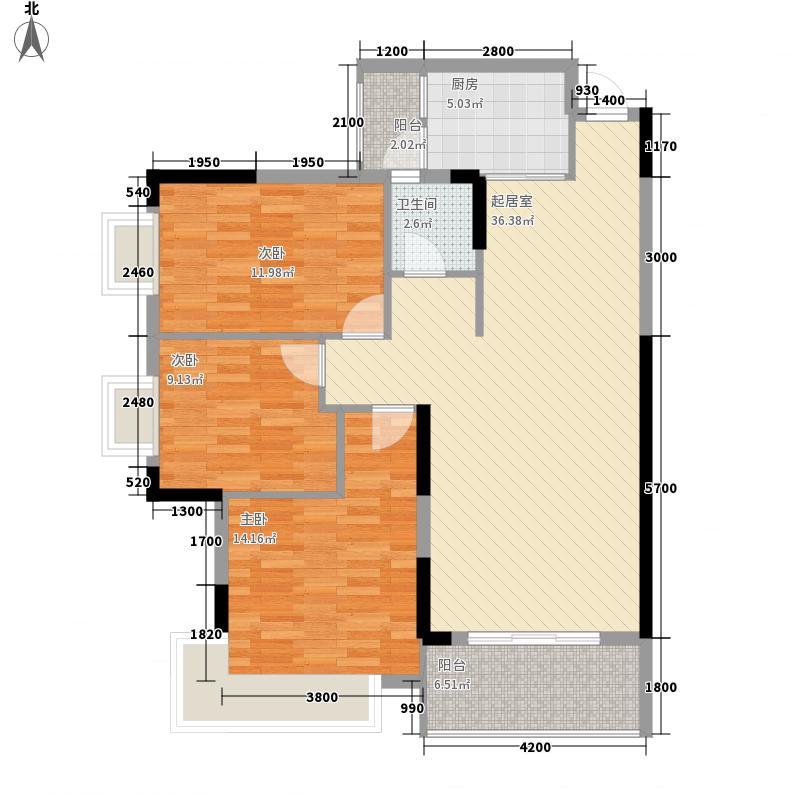 丰尚国际D2# 三房两厅一卫 3室2厅1卫1厨 106.58㎡