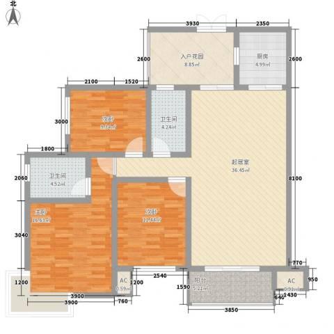 人和天地3室0厅2卫1厨122.00㎡户型图