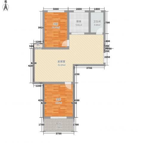 御府园2室0厅1卫1厨73.59㎡户型图