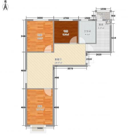 佰世・品德3室1厅1卫1厨79.00㎡户型图