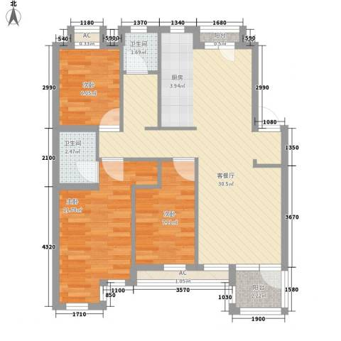 钻石湾地中海阳光3室1厅2卫0厨93.00㎡户型图
