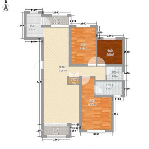 钻石湾地中海阳光3室1厅2卫0厨99.00㎡户型图