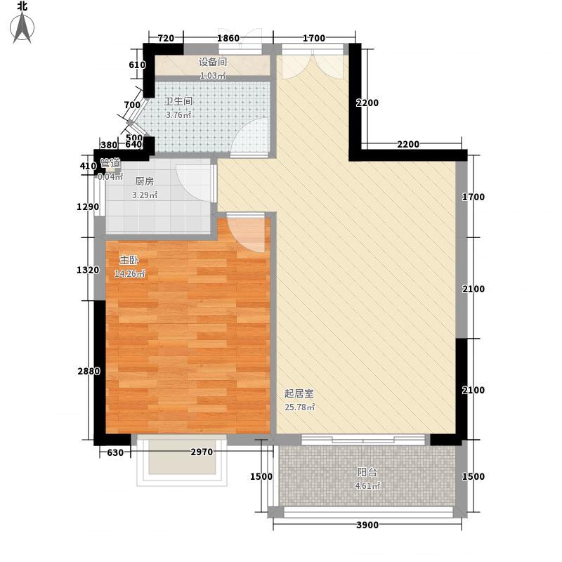 天赐南湾一居户型1室2厅1卫1厨