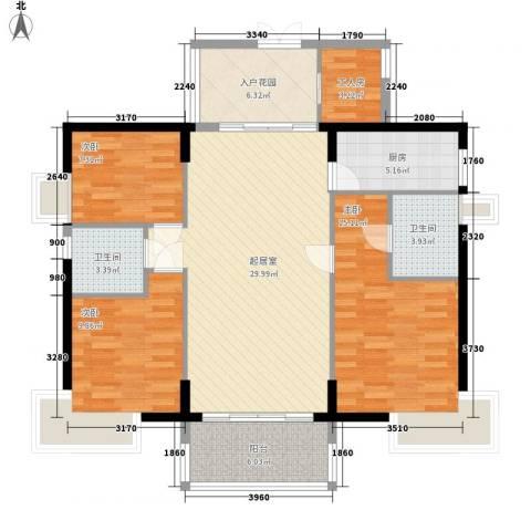 海怡东方花园3室0厅2卫1厨128.00㎡户型图