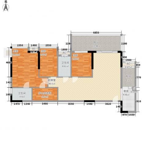 骊雅居3室0厅2卫1厨134.00㎡户型图
