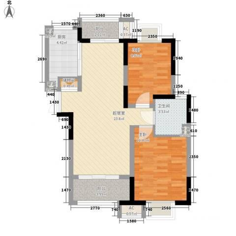 高巢2室0厅1卫1厨88.00㎡户型图