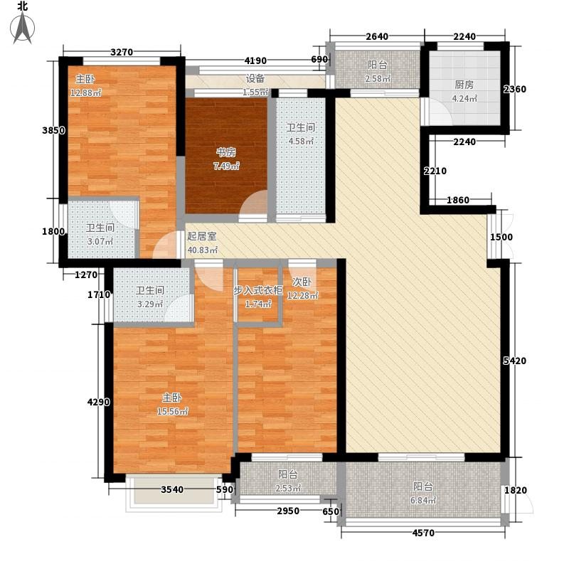富临国际143.00㎡12#25#01单元户型4室2厅3卫1厨
