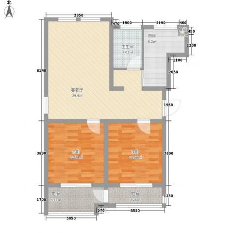 江风海韵2室1厅1卫1厨104.00㎡户型图