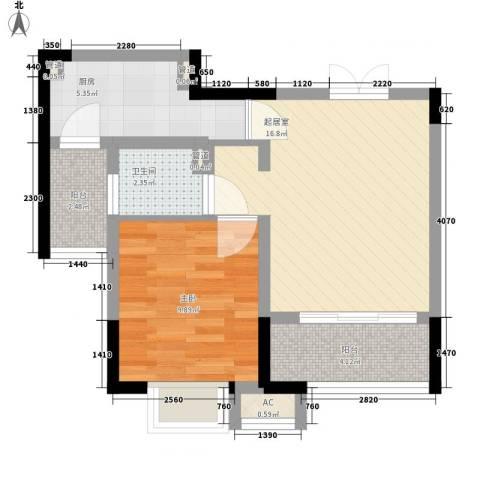 高巢1室0厅1卫1厨62.00㎡户型图