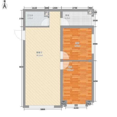 远洋广场2室1厅1卫1厨89.00㎡户型图