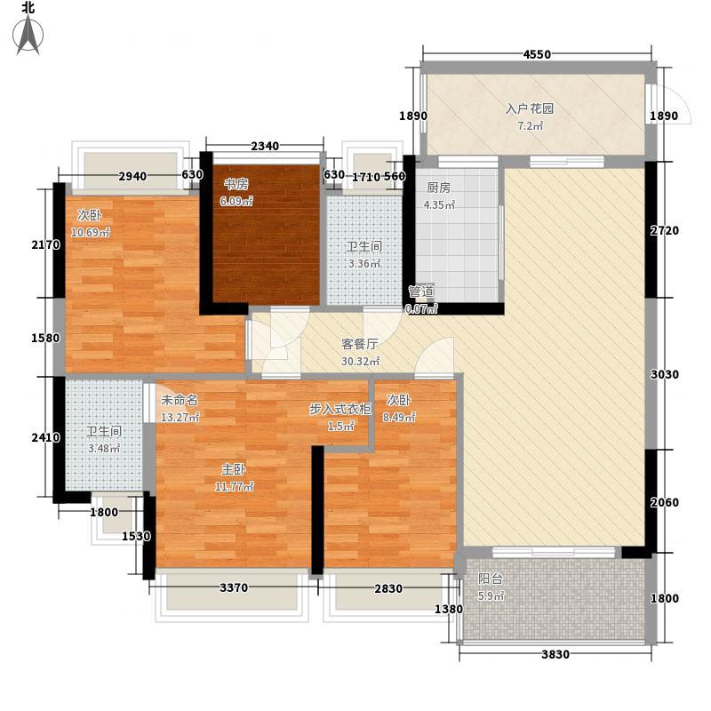 雅居乐・森岚133.00㎡1栋01户型4室2厅2卫1厨