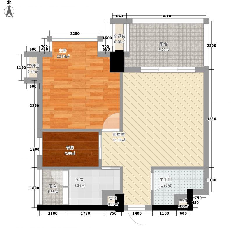 建川黉门公馆62.39㎡F型偶数层户型1室1厅1卫1厨