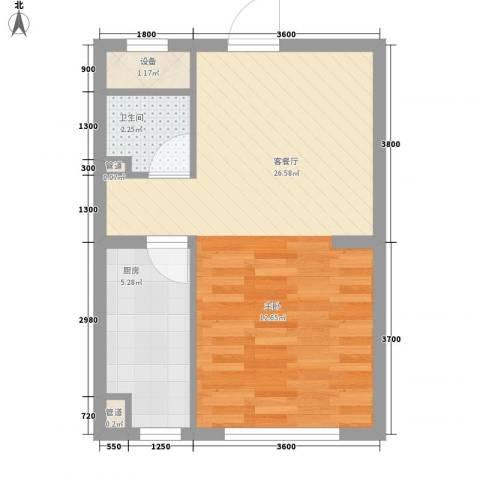 远洋广场1厅1卫1厨49.00㎡户型图