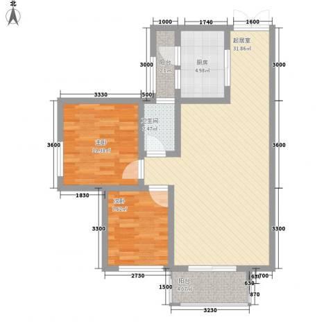 人和天地2室0厅1卫1厨84.00㎡户型图