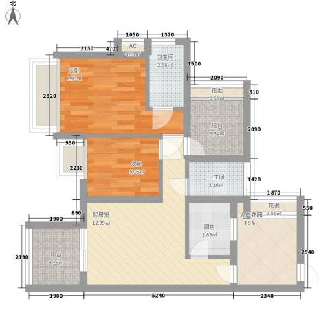 海语山林2室0厅2卫1厨72.00㎡户型图