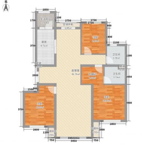 南郡水�天三�3室0厅2卫1厨135.00㎡户型图