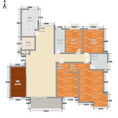 蓝地怡园5室0厅2卫1厨245.00㎡户型图