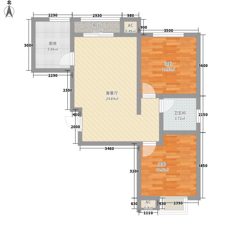 黄金花园82.00㎡黄金花园2室户型2室