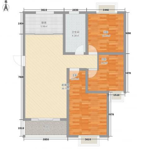 中豪国际星城三期3室0厅1卫1厨83.86㎡户型图