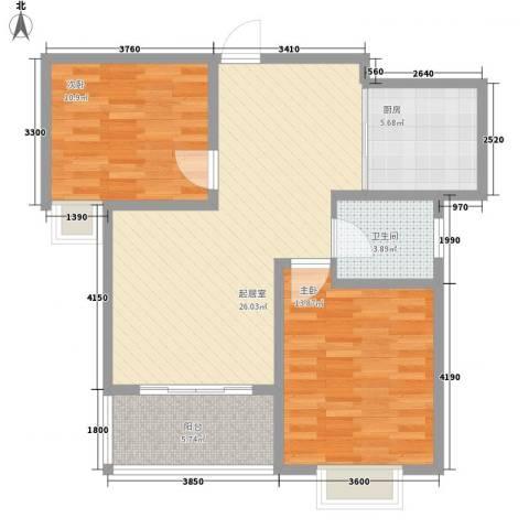 中豪国际星城三期2室0厅1卫1厨66.10㎡户型图