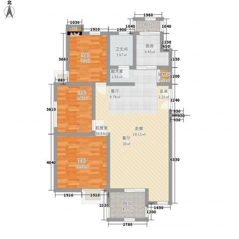 亿城山水颐园3室0厅1卫1厨118.00㎡户型图