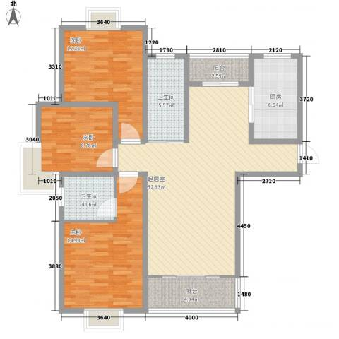 中豪国际星城三期3室0厅2卫1厨132.00㎡户型图