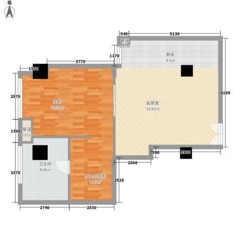 汇银铭尊一期汇银河滨一号1室0厅1卫0厨96.00㎡户型图