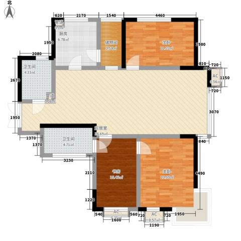 慧缘馨村3室0厅2卫1厨131.00㎡户型图