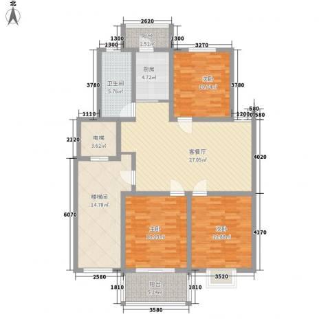 西欧名邸3室1厅1卫1厨117.00㎡户型图