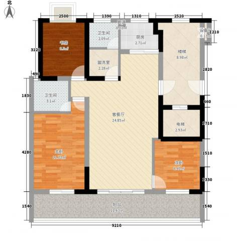 明珠山庄3室1厅2卫1厨123.00㎡户型图