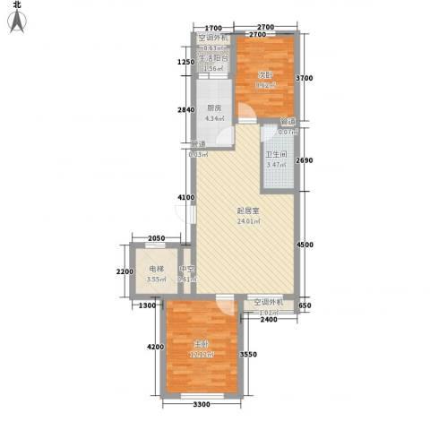 南郡水�天三�2室0厅1卫1厨80.00㎡户型图