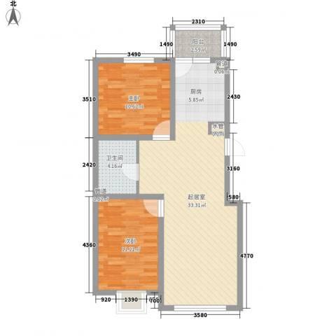 萧红书香苑2室0厅1卫0厨89.00㎡户型图