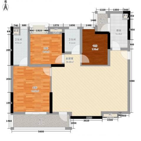 美好家园3室0厅2卫1厨90.23㎡户型图