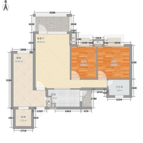 友田翡翠华庭2室1厅1卫1厨71.65㎡户型图