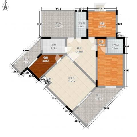 和谐家园3室2厅2卫1厨135.00㎡户型图