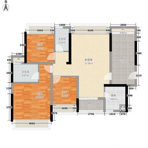 金地格林上院三期3室0厅2卫1厨108.00㎡户型图