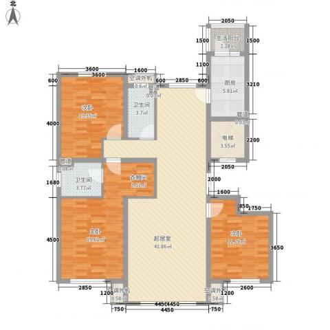 南郡水�天三�3室0厅2卫1厨145.00㎡户型图