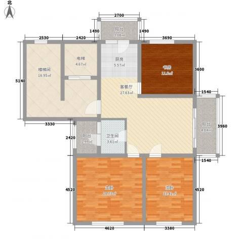 盛世香湾3室1厅1卫0厨107.50㎡户型图