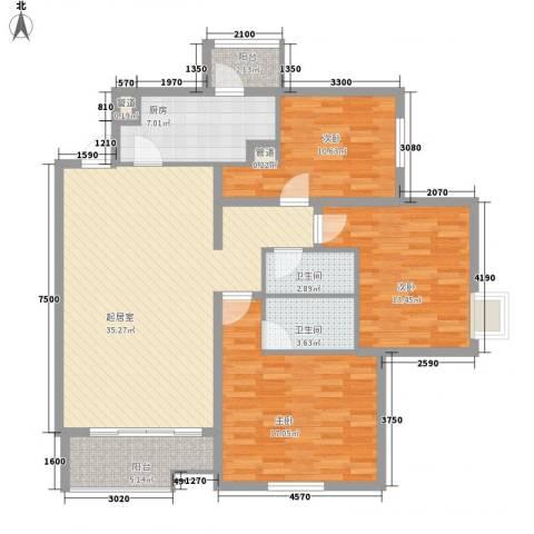 北苑家园锦城3室0厅2卫1厨140.00㎡户型图
