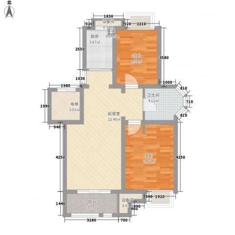 中北英郡2室0厅1卫1厨87.00㎡户型图