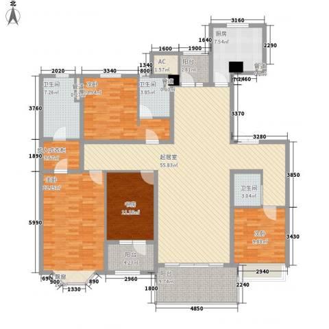 天正滨江4室0厅3卫1厨227.00㎡户型图