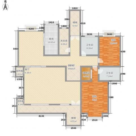 琦琳北辰2室2厅2卫1厨287.00㎡户型图