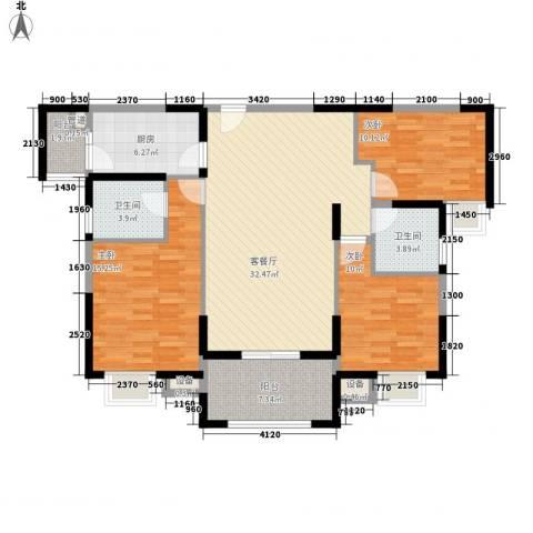华强城公园1号3室1厅2卫1厨105.11㎡户型图