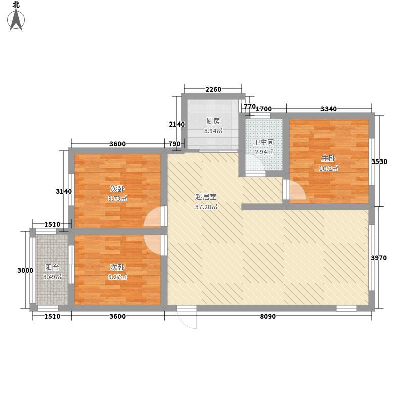 翔龙花园户型3室2厅1卫1厨