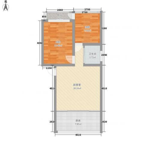 八一路小区2室0厅1卫1厨74.00㎡户型图