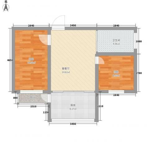 八一路小区2室1厅1卫1厨64.00㎡户型图